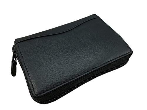 Cuero Tarjetero para Tarjeta de crédito y Cartera en una en el Color de Negro