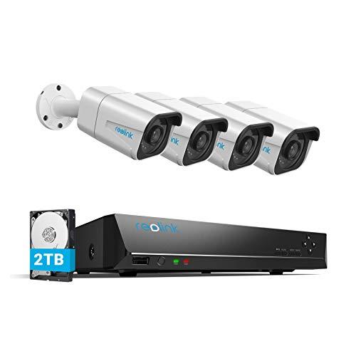 Reolink 4K Sistemas de Cámara Vigilancia PoE Exterior, Kit de Cámara Seguridad con 4X 8MP Cámaras IP PoE y 8 Canales 2TB HDD NVR para Grabación 24/7, Impermeable Visión Nocturna Audio, RLK8-800B4