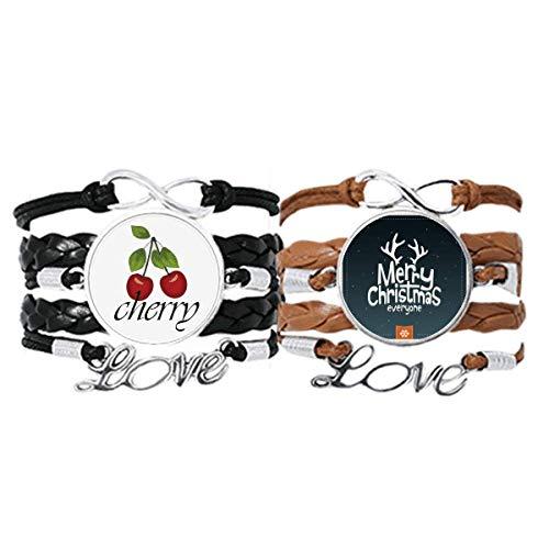 Bestchong Merry mas Reindeer Cartoon Pattern Bracelet Hand Strap Leather Rope Cherry Love Wristband Double Set