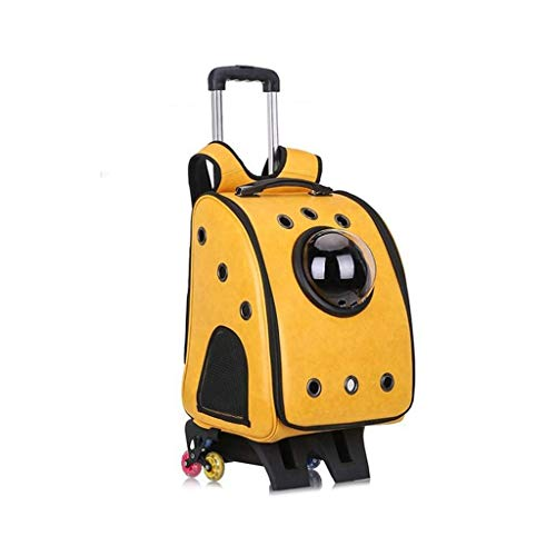 Sebasty Haustier-Trolley, tragbarer, atmungsaktiver Haustier-Rucksack, großes Haustier-Auto-Paket, Anti-Grip, atmungsaktive Netz-Katzentasche, für Reisen, Wandern, Camping, Gelb (Farbe: Gelb)