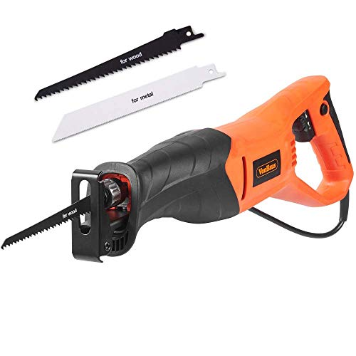 VonHaus Reciprocating Saw, 800W Sabre Saw - Variable Speed 0-2800RPM with 105mm Cutting Depth, 20mm Stroke– Tool-Free Blade Change – Includes 2 Blades, Hex Key – Electric Saw for Wood & Metal Cutting