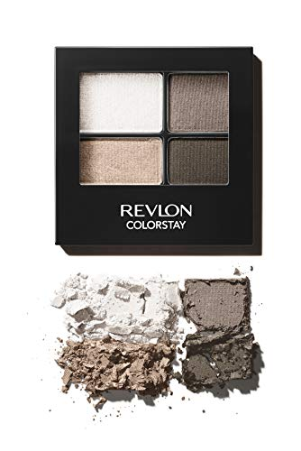 Revlon ColorStay 16 Hour Eyeshadow Quad with Dual-Ended Applicator Brush, Longwear, Intense Color Smooth Eye Makeup for Day & Night, Moonlit (555), 0.16 oz