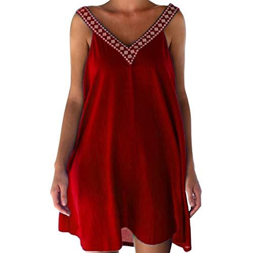 potente para casa LEEDY_Vestido Vestido con escote en pico y tirantes Summer Ladies Bohemian Party…