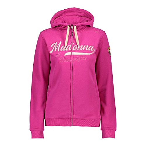 CMP Sweatjacke Jacke Woman Jacket FIX Hood dunkelblau & pink Schriftzug Logopatch (C006 GERANEO-Madonna DI CAMPIGLIO, 38)