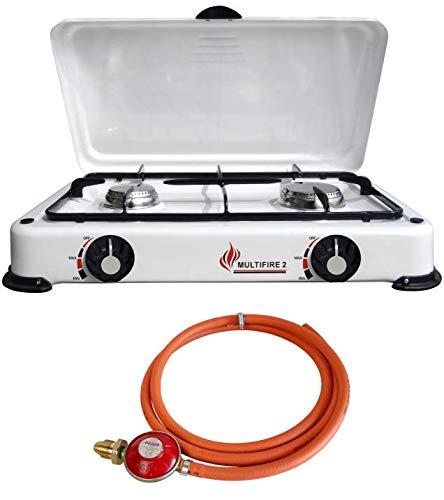 Portable Double Gas Stove 2 Burner Camping White Enamel Lid Outdoor LPG + Propane Regulator Set (Propane 37mbar Screw-on)