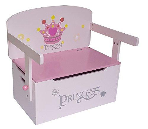 Kiddi Style 3-in-1 aufklappbarer Spielzeugkasten + Sitzbank & Tisch + Stuhl, im Prinzessinnenmotiv