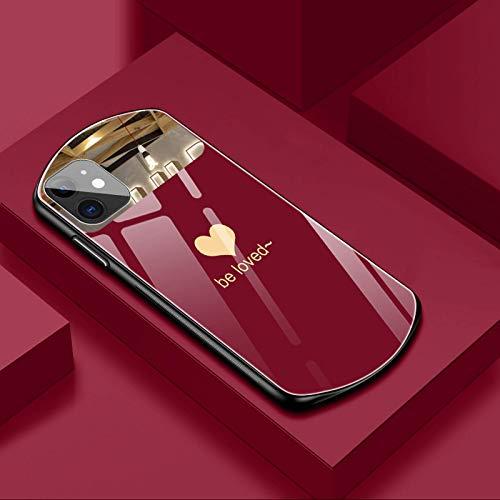 iPhone 12 11 Pro Max XSmax XR X SE 8 7 6 Plus es una lujosa y bonita funda de vidrio templado ovalada con forma de corazón con una superficie de espejo protectora de silicona