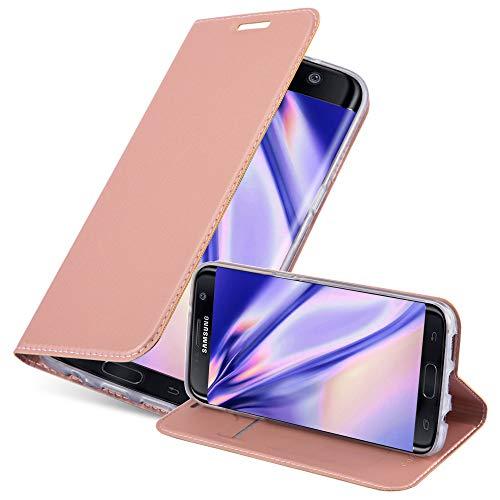 Cadorabo Funda Libro para Samsung Galaxy S7 Edge en Classy Oro Rosa - Cubierta Proteccíon con Cierre Magnético, Tarjetero y Función de Suporte - Etui Case Cover Carcasa