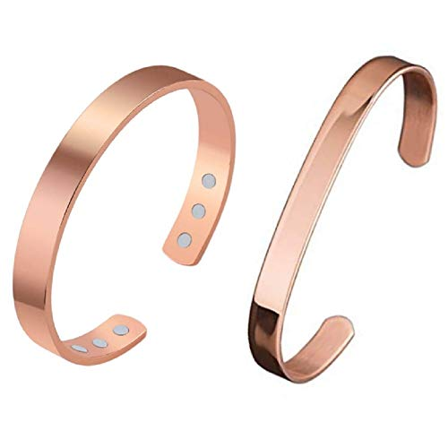 Art Of Creation Pure Solid Copper Magnet Bracelets for Arthritis and Joint Pain for Men and Women Effective and Natural Handmade Cuff/Bangle from India (Rosegold) Pack of 2