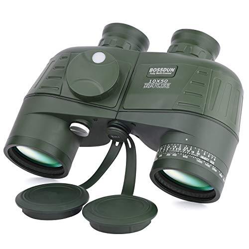 HGJZ 10x50 Binocolo Marino per Adulti, Binocolo Militare Impermeabile con Bussola Telemetro BAK4 Prisma Lente FMC Antiappannamento per la Navigazione Birdwatching Caccia