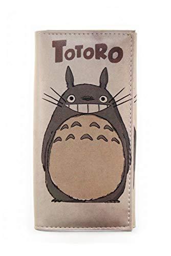 Geldbörse, japanischer Stil, PU-Leder, niedliches Totoro-Muster, dreifach faltbar, Geldbörse für Münzen und Münzen -  Grau -  Einheitsgröße