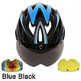 CZCJD Fahrrad Helme3 Linsen Fahrradhelm Rennrad Schutzhelm Mit Brille Ultraleichter In-Mould Rennradhelm,Schwarz Blau 3 Linsen,M