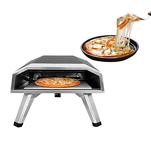 Horno de Pizza a Gas para Exterior Interior Kit de Horno de Pizza BBQ Kit de Parrilla de Pizza a Gas de Acero Inoxidable con Sistema de rotación automática Máquina de Pizza portátil