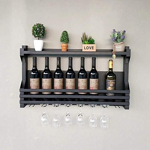 OYYO Vino, Whisky, Ginebra, Bebidas Bastidor, Ginebra, Whisky Plataforma Reciclado, Upcycled Pallet (Color : Black)