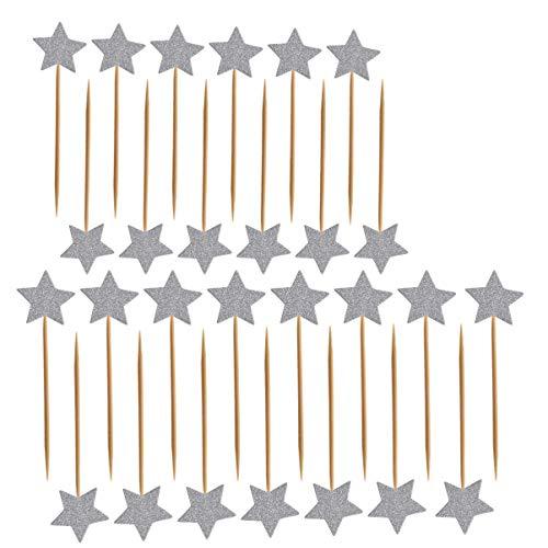 ULTNICE 50 unidades de palillos de purpurina con diseño de Star Cupcake Toppers para aperitivos de cumpleaños y fiestas de boda (plata)