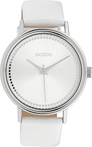 Oozoo Damenuhr mit Lederband 42 MM Silberfarben/Weiss C10149