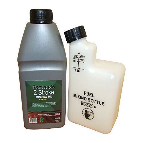 1 Litre Of 2 Stroke Oil & Fuel Petrol Mixing Bottle For Chainsaw 25:1 40:1...