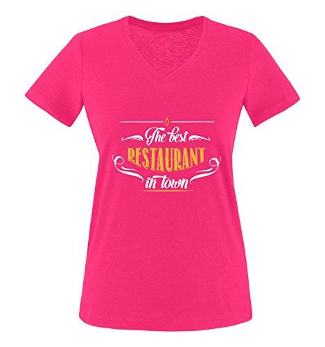 Comedy Shirts - The Restaurant in Town - Damen V-Neck T-Shirt - Pink/Weiss-Gelb Gr. XL