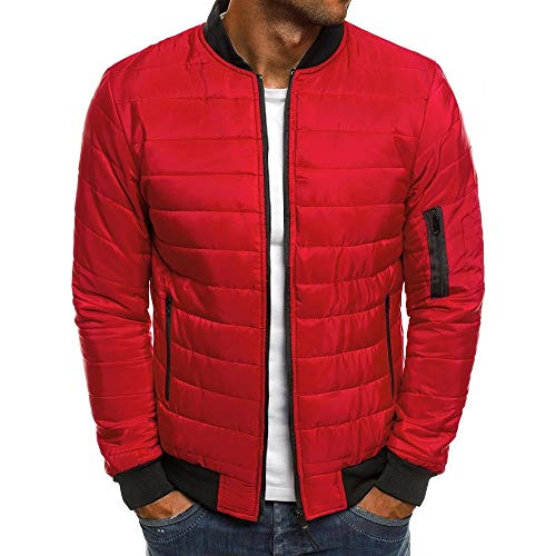 PANBOB Men Jacket Winter Warm Comfortable Fashionable Loose-Fitting Casual Zipper Long-Sleeved Classic All-Match Outdoor Sports Leisure Mountaineering Camping Men Top K-Red M
