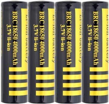 Baterías 18650 Baterías Recargables 3.7V 4000mAh Batería de Iones de Litio de Gran Capacidad BRC 1200 ciclos Batería Recargable de Larga duración Linterna LED, 65 x 18 mm, Negro (4)
