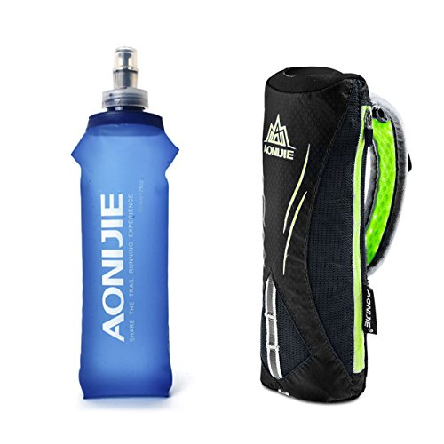 Geila Handheld Water Bottle for Running 17 oz Grip Handheld Bottle with Hand Strap Hydration Pack BPA Sport Soft FlasBlack