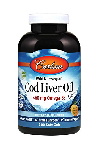 Carlson - Cod Liver Oil, 460 mg Omega-3s, Wild-Caught Norwegian Arctic Cod-Liver Oil, Sustainably Sourced Nordic Fish Oil Capsules, Lemon, 300 Soft Gels