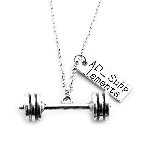 NA halsketting bodybuilding trainingsapparatuur serie halsketting gewicht plaat lange halter hanger halsketting fitness accessoires
