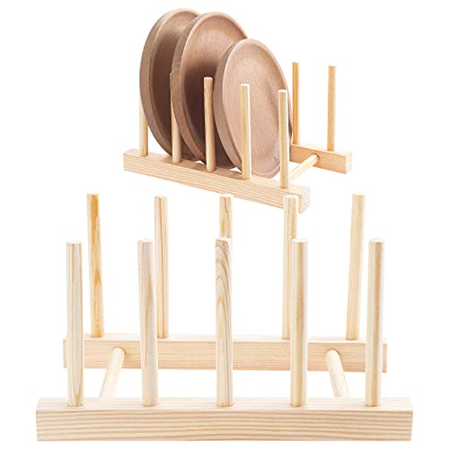 HonGien 2 uds Estante de bambú escurridor de Platos de Cocina escurridor de Almacenamiento Estante de Secado Soporte de Platos para Almacenamiento CD vajilla Libro Copa de Vino