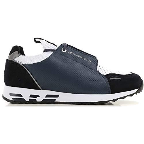 Emporio Armani Herren-Sneaker, Marineblau + Weiß, Blau - blau - Größe: 45 EU
