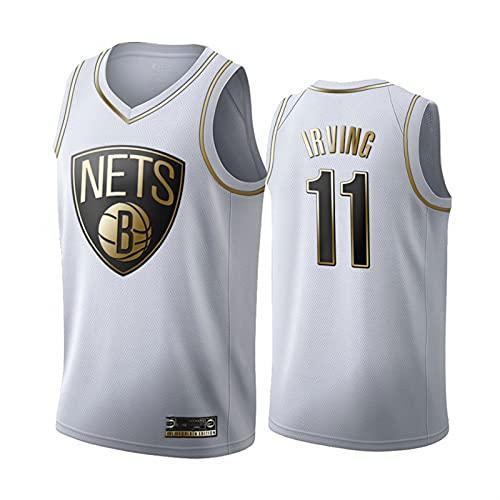 YDHZ Néts 11# Irvińg Basketball-Trikots Besticktes Mesh Atmungsaktives Halbhülsen-T-Shirt White-M