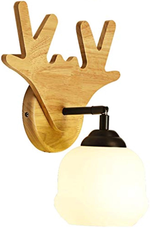 NJ Wandlampe- Antler Wandleuchte Massivholz Material Energieeinsparung Lichtquelle Moderne Korridorlampe Schlafzimmer Nachttischlampe (Farbe   Beige-13x32cm)