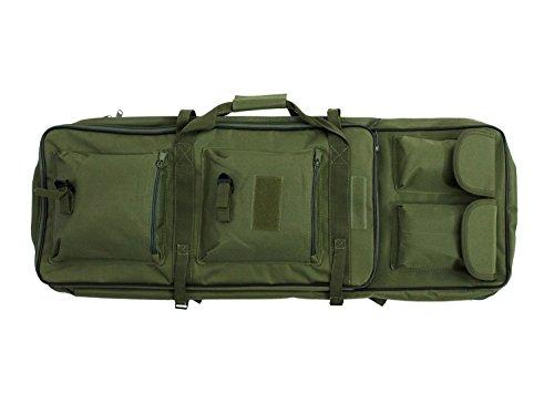 BEGADI Langwaffentasche/Futteral mit Doppelfach & Aussentaschen, 85 x 30cm - Olive