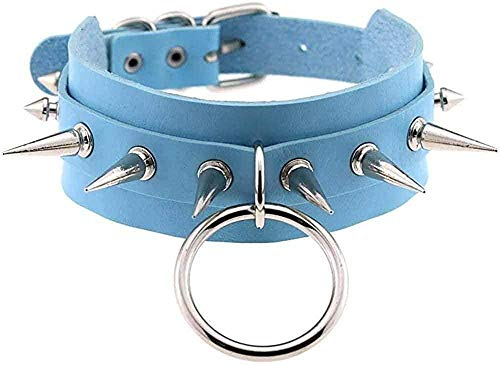 BACKZY MXJP Necklace Necklace Necklace Big O-Round Punk Rock Gothic Chokers Men Leather Spike Rivet Stud Collar Choker Necklace Jewelry-Light Blue Pendant Necklace For Women Men