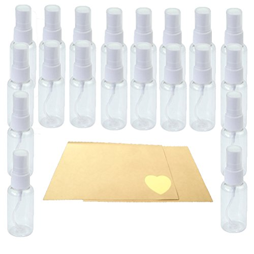 20pcs*30ml Flacon Bouteille Atomiseur Spray Fine Vaporisateurs Vide Bouteilles de Pulvérisateur Rechargeable en Plastique Transparent Bouteille parfum + 24 Papier pour l'étiquette