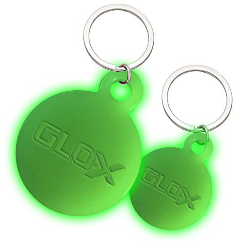 """GLO-X Dog Glow Tag - Glow in The Dark Cat Tags to Keep Your Pets Safe at Night - 12+ Hours Glow Time - Charges in Daylight - Unlimited Recharges - No Batteries Required (1.38"""" & 1.10"""" Diameter)"""