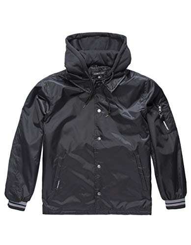 Members Only Men s Coach Jacket with Detachable Hood, Black, M