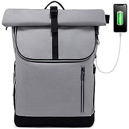 LOVEVOOK Sac à dos pour ordinateur portable – 17,3″ – Imperméable – Grand sac à dos enroulé – Avec port de charge USB – Pour l'école, l'université, les étudiants, les voyages – Gris