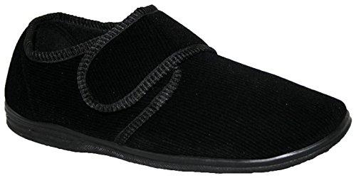 DIABETIKER Orthopädische Easy Close Wide Passende Touch Close Bar Gurt Schuh Herren Slipper, - Black Plain - Größe: 43 / 9 UK