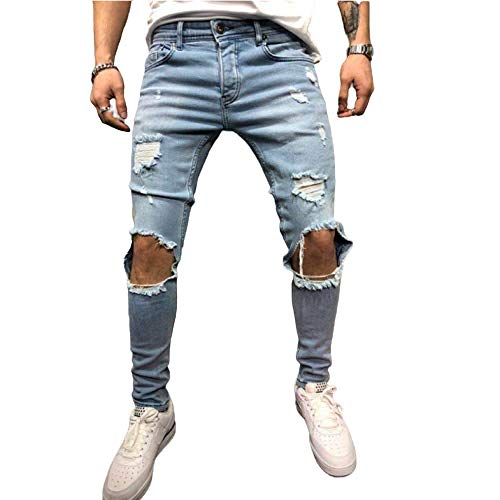 Men's Jeans European and American Washed Plus Size Fashion Straight Hole Medium Light Blue
