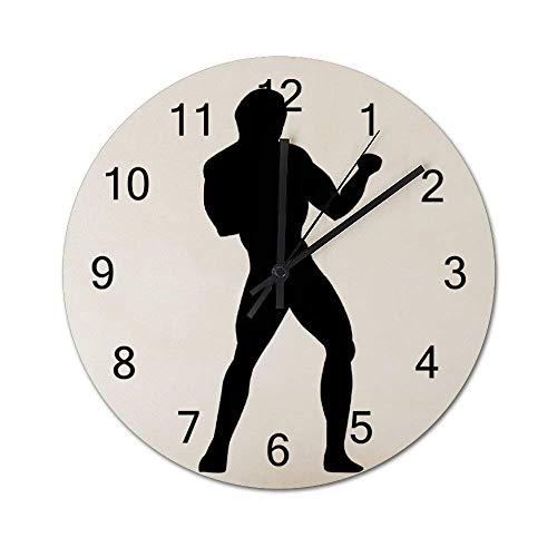Reloj de Pared de Madera Redondo rústico silencioso sin tictac de 10 Pulgadas, Silueta de Hombre de Kickboxing, decoración de Pared de Granja Vintage para el hogar, la Oficina, la Escuela