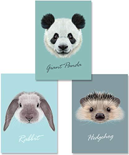 MiaLu® Poster Kinderzimmer Tiere - 3er Set Bilder Babyzimmer Deko für Junge Mädchen (Panda-Bär, Igel, Hase) DIN A4