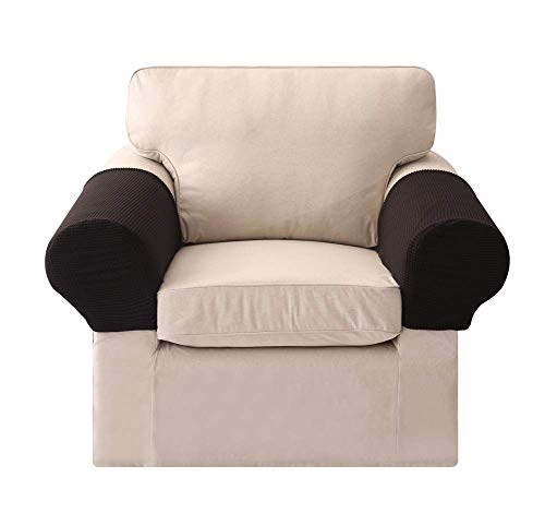 AFFASFSAFS Juego de 2 Fundas para apoyabrazos, sillones Antideslizantes de Tela elástica, Funda para Brazos de sofá, Tapa Protectora para Brazos, Color Verde