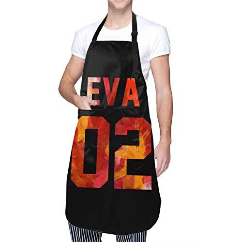N\A Anime & Eva-02 (Neon Genesis Evangelion) Delantal de Cocina clásico con Bolsillo para Hombres y Mujeres