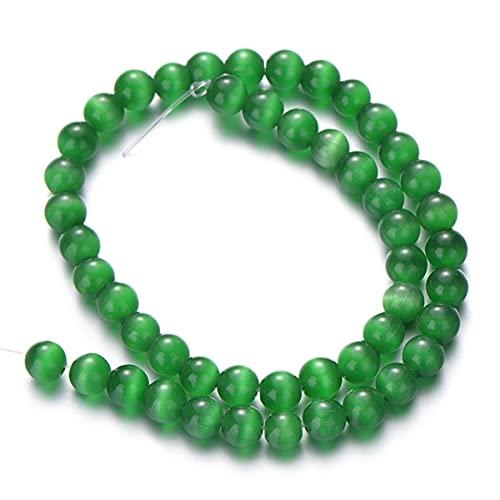 Cuentas de ojo de gato de piedra natural, cuentas espaciadoras redondas y sueltas para hacer joyas de bricolaje, pulseras, collar, dijes, accesorios, 4/6/8/10/12 mm, verde, 10 mm (alrededor de 36)