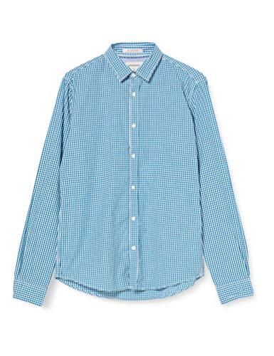 Springfield Popelin Cuadros Vichy-C/21 Camisa Casual, Verde (Green 21), Large (Tamaño del fabricante: L) para Hombre
