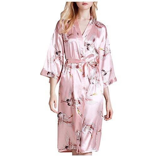 whcct Sexy Robe Damen Blumendruck Nachtwäsche Bademantel Satin Robe Langarm Nachtwäsche