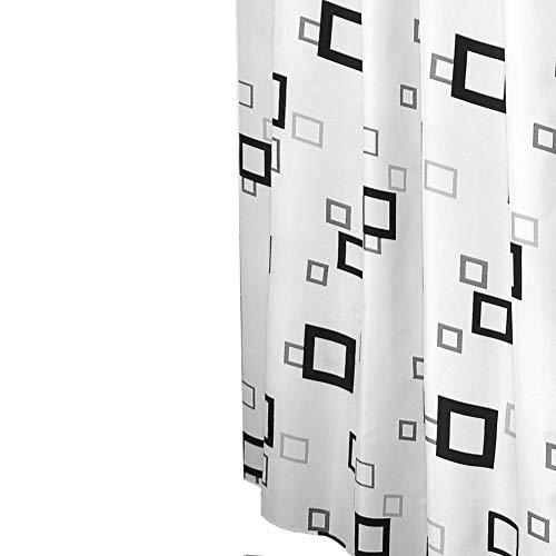 Design Duschvorhang/Badewannenvorahng in der Farbe Weiß/Schwarz/Grau / 100prozent Polyester / 180 x 200 cm/Waschbar
