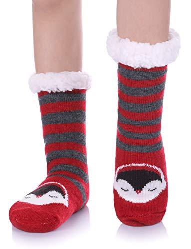 FNOVCO Boys Girls Slipper Socks Fuzzy Soft Warm Fleece lined Kids Toddler Winter Socks for Christmas (Red Penguin, 15CM/3-4 years)