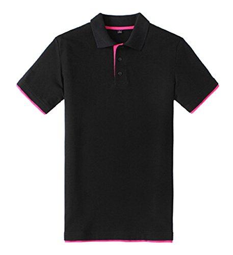 Baymate - Plain - Polo - Homme - Manches Courtes - Custom Fit Noire Rose M