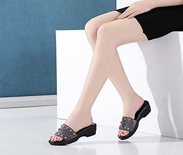 SCLOTHS Tongs Femme Chaussures Diahommet Artificiel d'été Les vêtements d'Extérieur antidérapant épais avec Talons Moyens